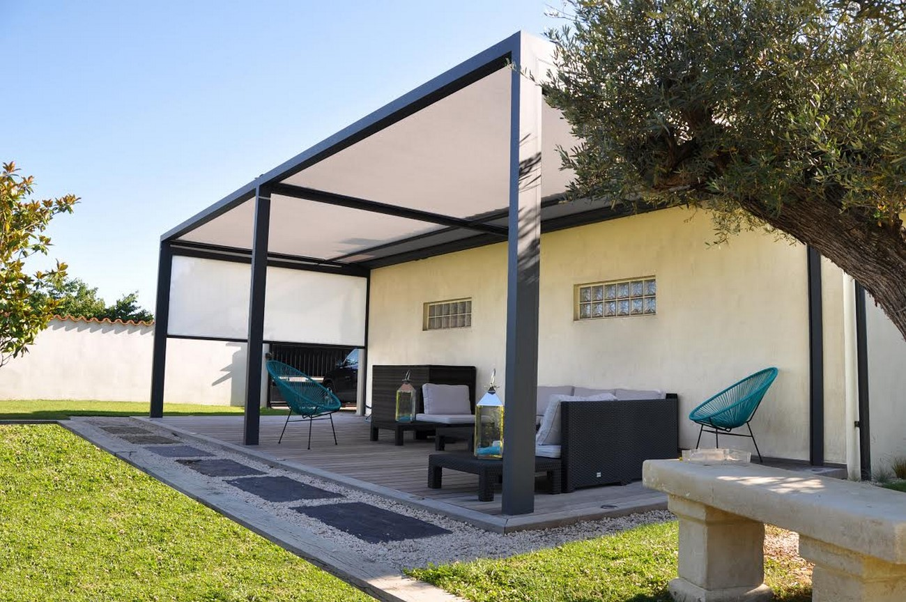 pergola store enroulable cocoon perspective v randa. Black Bedroom Furniture Sets. Home Design Ideas